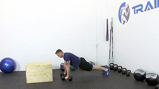 dumbbell burpee step-up - step 1