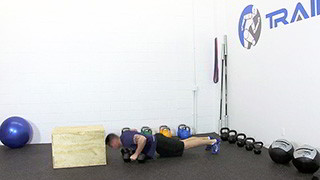 dumbbell burpee step-up - step 2