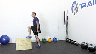 dumbbell burpee step-up - step 3