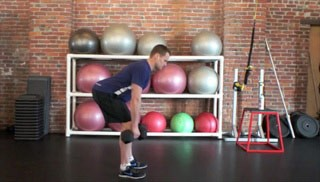 Picture of a male doing Dumbbell Deadlift Exercise