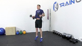 dumbbell hang clean - step 2