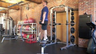 dumbbell step-ups - step 2