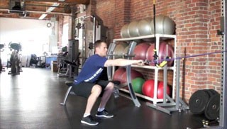 exercise band squat row - step 3