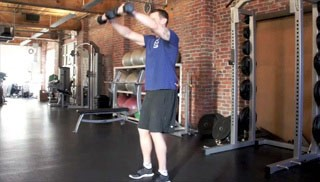 front dumbbell shoulder raises - step 2