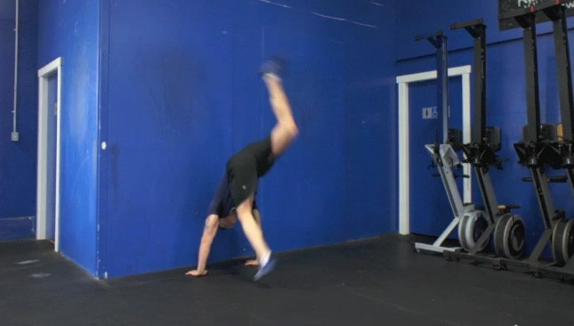 hand stand against wall - step 2