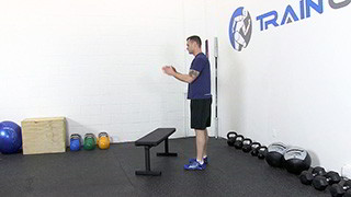 jump over bench - step 1