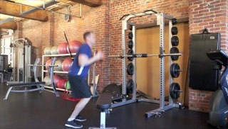 jump ups on bench with medicine ball - step 1