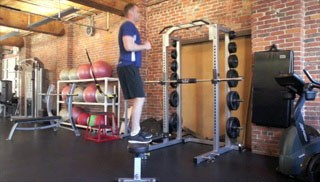 Picture of a male doing Jump Ups on Bench Exercise