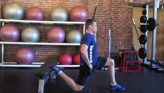 kneeling hip flexor stretch on bench - step 2