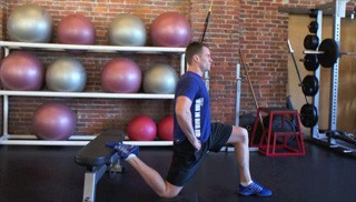 kneeling hip flexor stretch on bench - step 3