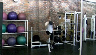 lateral shuffle on bench with press - step 3