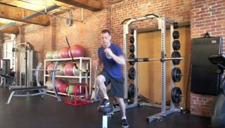 lateral shuffle on the bench - step 1