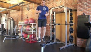 Picture of a male doing Lateral Shuffle on the Bench Exercise