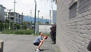 med ball squat throws - step 1