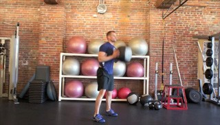 medicine ball burpee with press - step 1