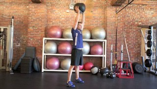 medicine ball burpee with press - step 3