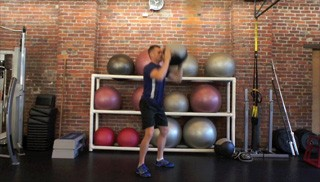 medicine ball squat press - step 1