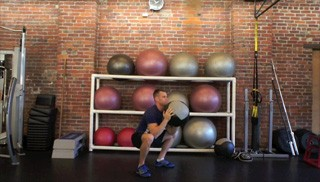 medicine ball squat press - step 2