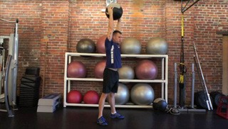 medicine ball squat press - step 3