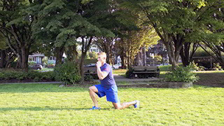 outdoor jumping split lunge - step 1