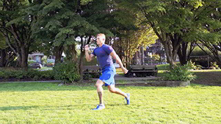 Outdoor Jumping Split Lunge exercise for men