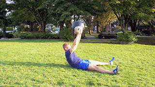 outdoor medicine ball sit-ups - step 3