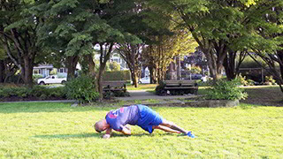 Picture of a male doing Outdoor Side Plank Twist Exercise