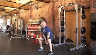 overhead dumbbell throw - step 1