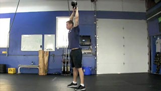 Picture of a male doing Overhead KettleBell Swing Exercise