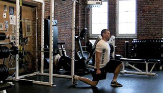 reverse dumbbell lunges - step 2