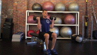 Picture of a male doing Seated Biceps Curls Exercise