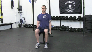 seated dumbbell lateral raise  - step 1