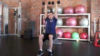 Picture of a male doing Seated Dumbbell Shoulder Press Exercise
