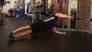 side plank cable rows - step 1