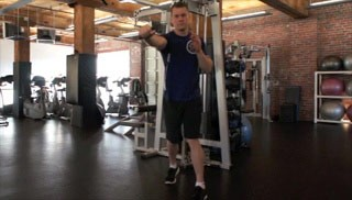 Picture of a male doing Single Arm Cable Press Exercise