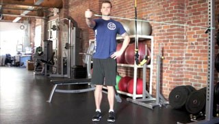 single arm standing reverse fly - step 1