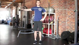 single arm standing reverse fly - step 2