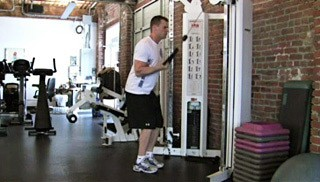single arm tricep cable extension - step 1