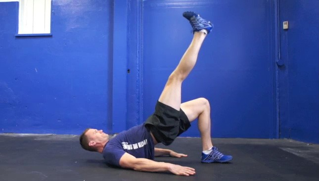 Picture of a male doing Single Leg Glute Bridge Exercise