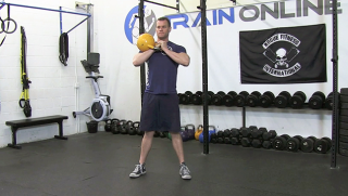 single side kettlebell front squat - step 1