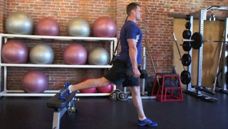 split dumbbell lunge - step 1