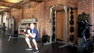 squat press w/ weight plate - step 1