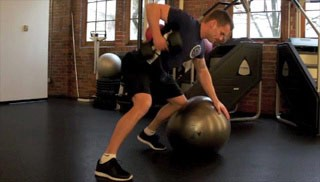 Picture of a male doing Stability Ball Bent Over Row Exercise