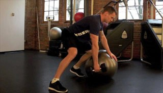 stability ball bent over row - step 3