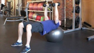 stability ball fly  - step 1