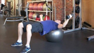 Picture of a male doing Stability Ball Fly  Exercise