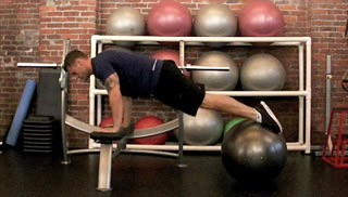 stability ball knee tucks on bench - step 1
