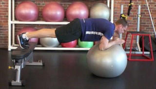 stability ball push-outs on the bench - step 1