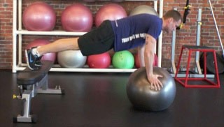 stability ball push-up on bench - step 1