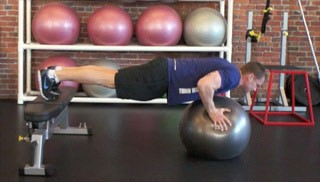 stability ball push-up on bench - step 2